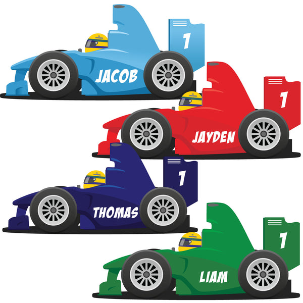 Personalised F1 Racing Car Bedroom Wall Sticker - Decal Race Graphic with Name