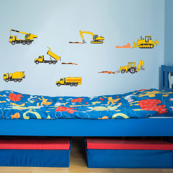 Digger Truck Bulldozer Crane Dumper Boys Bedroom Wall Stickers Graphics Decals