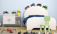 Tractor Wall Stickers Set - Blue Red & Green Vehicle Truck JCB Digger Decals