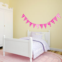 Childrens Bedroom Bunting Flags Wall Art Stickers Decals Kids