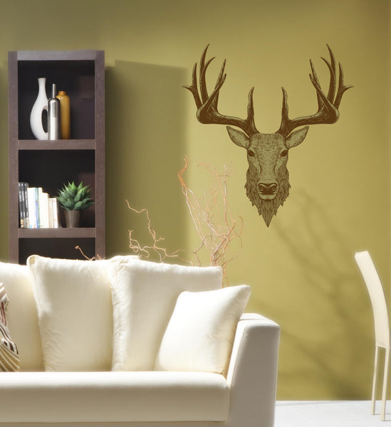 Country Range Stag Head Wall Decal Sticker Porch Hallway Entrance ...