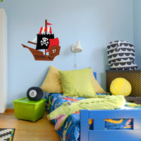 Personalised Pirate Ship Boys Bedroom Wall Sticker Decal Boat
