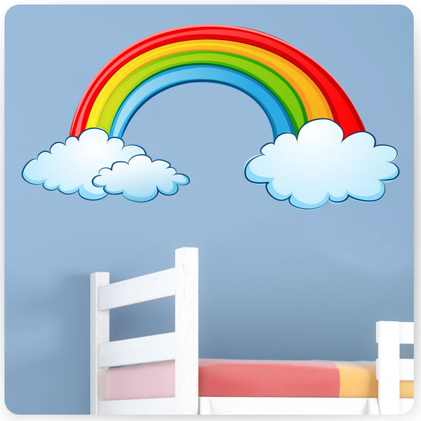 Childrens Rainbow Wall Stickers (Kids Bedroom Girls Baby Art Flowers Sticker)