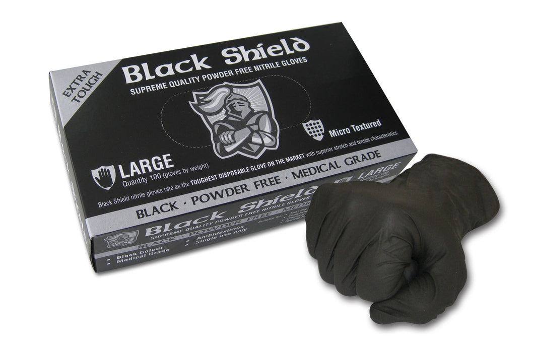 BLACK SHIELD Extra Heavy Duty Nitrile Gloves