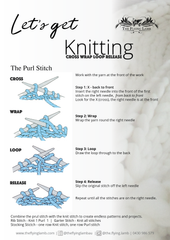 Learn to knit the purl stitch. Knitting instructions by The Flying Lamb