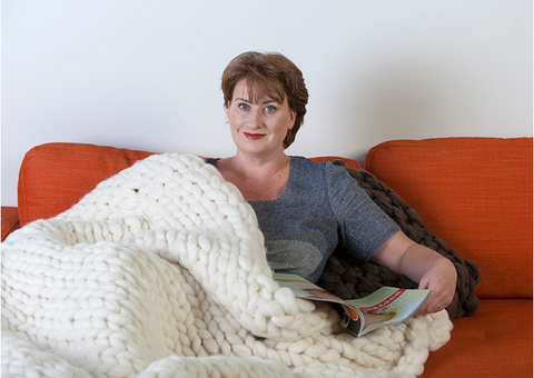 Linda Reeve Chief Knitter at The Flying Lamb | chunky knit blankets | extreme knit blankets | big knit