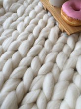 Soft, luxurious chunky knit blanket by The Flying Lamb. Handmade from 100% premium Australian Merino wool, hand knitted on the Mornington Peninsula Australia. Let's get cosy ...perfect birthday gift for daughter