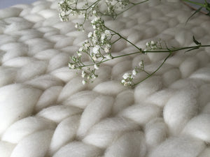 Soft, luxurious chunky knit blanket by The Flying Lamb. Handmade from 100% premium Australian Merino wool, hand knitted on the Mornington Peninsula Australia. Let's get cosy ...perfect birthday gift for bride
