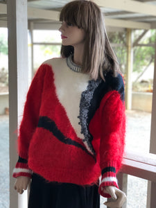 Vintage Hand Knit Jumper - red, black white batwing