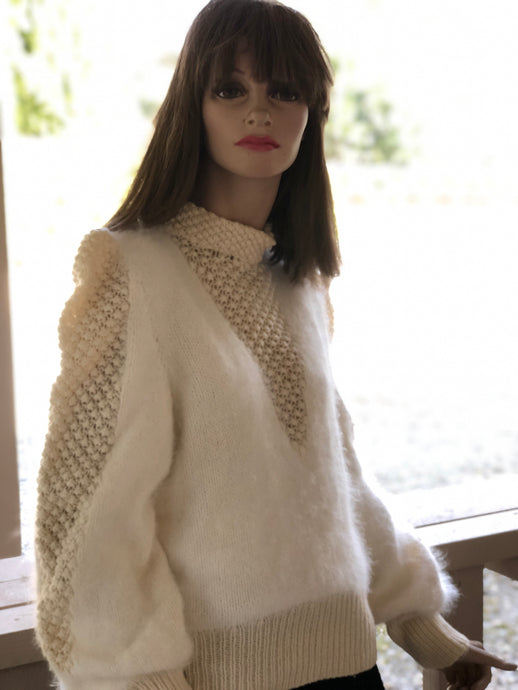 Vintage Hand Knit Jumper - cream angora princess neckline