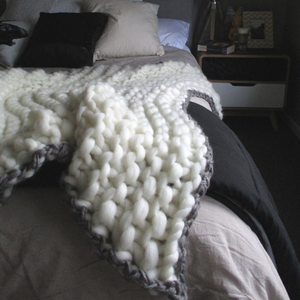 Soft, luxurious chunky knit blanket by The Flying Lamb. Handmade from 100% premium Australian Merino wool, hand knitted on the Mornington Peninsula Australia. Let's get cosy ...perfect birthday gift