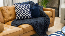 The Melbourne - Soft, luxurious chunky knit blanket by The Flying Lamb. Handmade from 100% premium Australian Merino wool, hand knitted on the Mornington Peninsula Australia. Let's get cosy ...perfect birthday gift for house warming