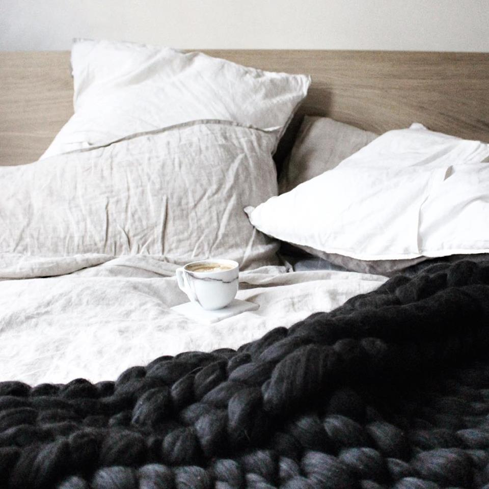 The Melbourne chunky knit blanket by The Flying Lamb. Handmade from 100% premium Australian Merino wool, hand knitted on the Mornington Peninsula Australia