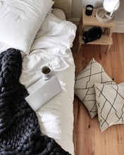 The Melbourne - Soft, luxurious chunky knit blanket by The Flying Lamb. Handmade from 100% premium Australian Merino wool, hand knitted on the Mornington Peninsula Australia. Let's get cosy ...perfect birthday gift for newly weds