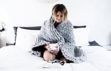 Soft, luxurious chunky knit blanket by The Flying Lamb, perfect for Mothers Day. Handmade from 100% premium Australian Merino wool, hand knitted on the Mornington Peninsula Australia. Let's get cosy ...