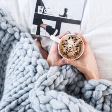 Soft, luxurious chunky knit blanket by The Flying Lamb, perfect for Mother's day. Handmade from 100% premium Australian Merino wool, hand knitted on the Mornington Peninsula Australia. Let's get cosy ...