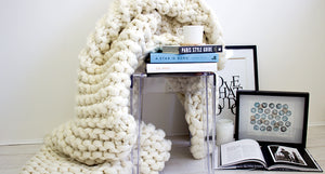 The Clouds chunky knit blanket made from Australian Merino wool by Linda Reeve as featured in SWIISH