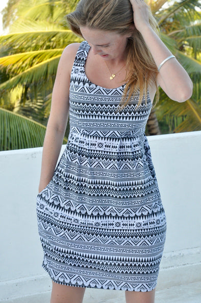 Aztec Dress with Pockets in Black and White