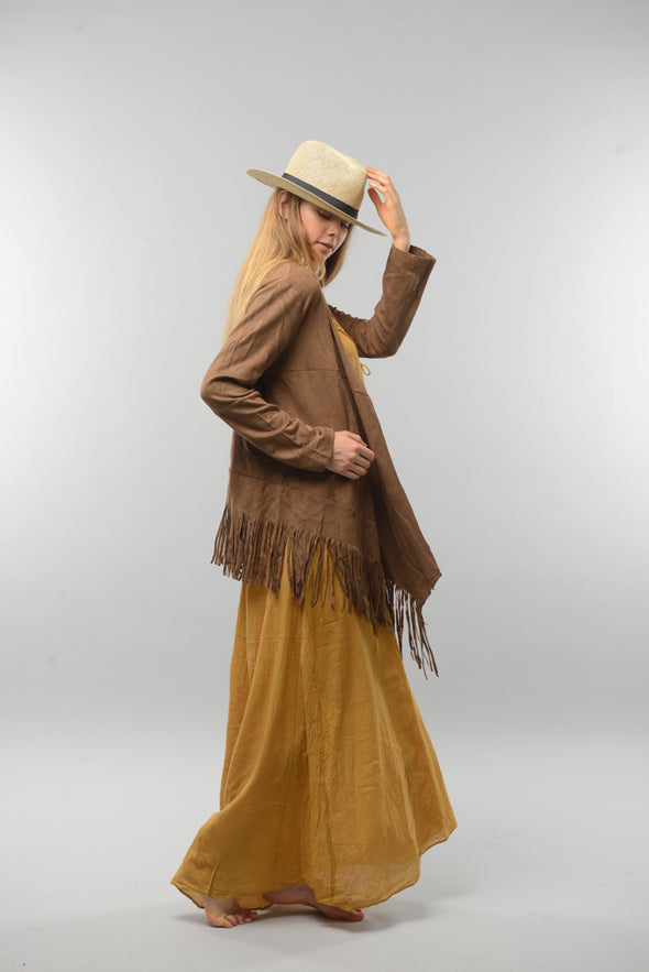 Faux Suede Fringe Waterfall Jacket in Tan