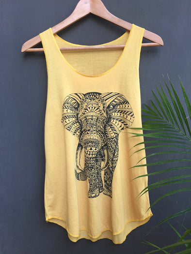 Graphic Tank Top Tribal Elephant