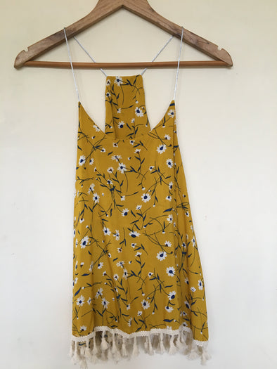Floral Print Vest with Tassels in Saffron