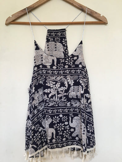Eli Print Vest with Tassels in Navy
