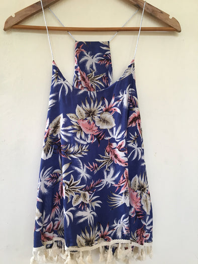 Tropical Print Vest with Tassels in Blue