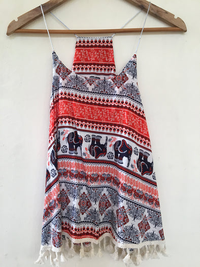 Eli Print Vest with Tassels in Red