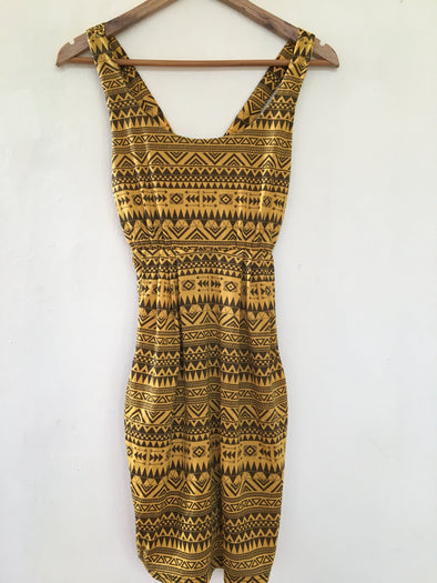 Aztec Dress with Pockets in Yellow and Black