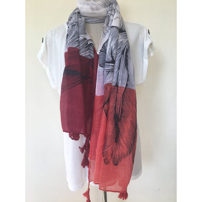 Maxi Scarf with Tassels in Red