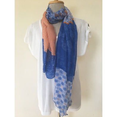 Print Scarf in Blue and Orange