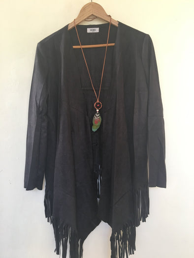 Faux Suede Fringe Waterfall Jacket in Black