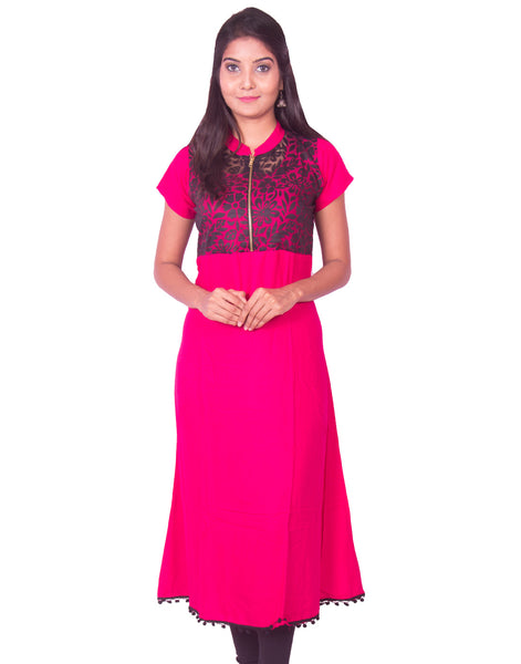 Rani Pink with Black Net Zip Open Rayon Anarkali Kurti from Joshuahs