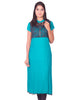 Jade Green with Black Net Zip Open Rayon Anarkali Kurti from Joshuahs