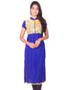 Ink Blue with Yellow Net Zip Open Rayon Anarkali Kurti from Joshuahs