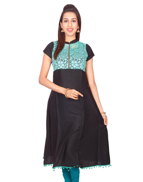 Black with Green  Net Zip Open Rayon Anarkali Kurti from Joshuahs
