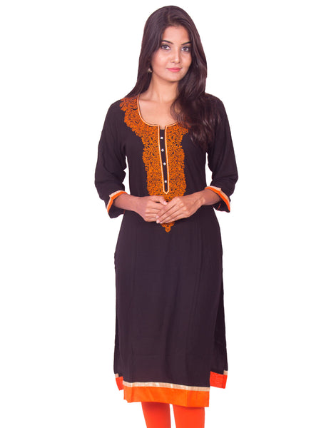 Jet Black with Orange Embroidered Pure Rayon Straight Cut Kurti from Joshuahs