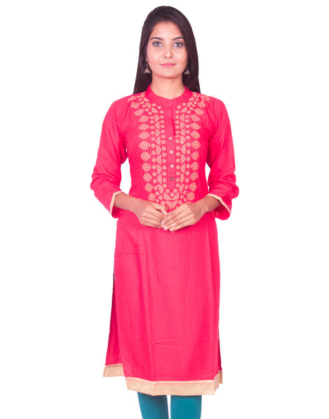 Amaranth Red Pure Rayon Straight Cut Long Sleeve Kurti from Joshuah