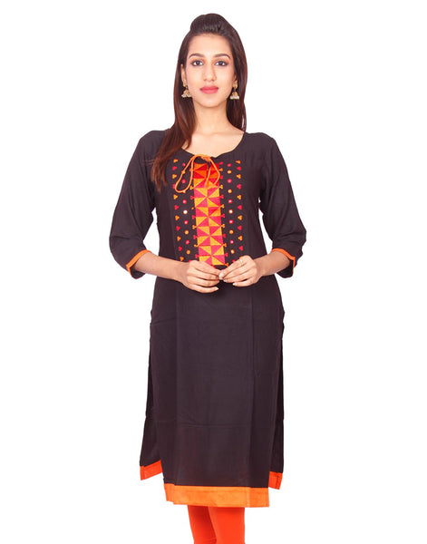 Black Pure Rayon Embroidered  Straight Cut Long Sleeve Kurti from Joshuah