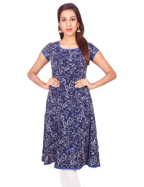 Navy Flower Print Rayon Casual Anarkali Kurti From Joshuahs