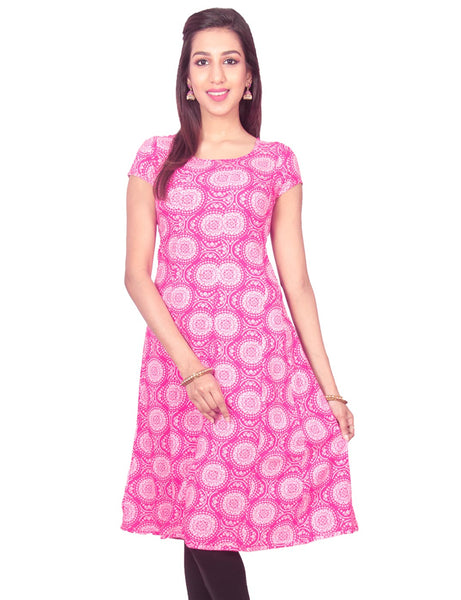 Pink Flower Print Rayon Casual Anarkali Kurti From Joshuahs