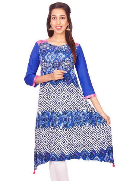 Royal Blue Flower Print Rayon Casual Anarkali Kurti From Joshuahs