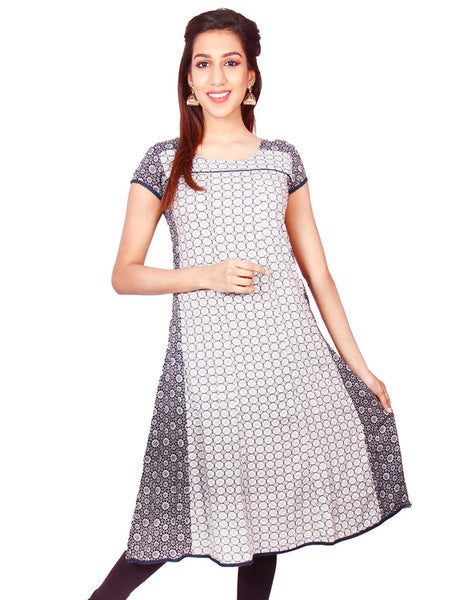 White & Black Flower Print Rayon Casual Anarkali Kurti From Joshuahs