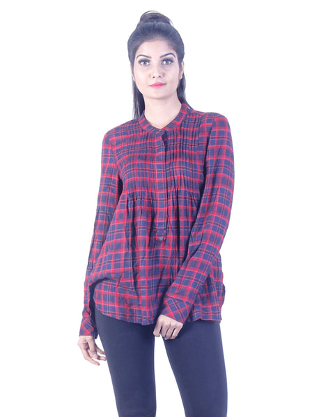 Red checkered Long Tunic