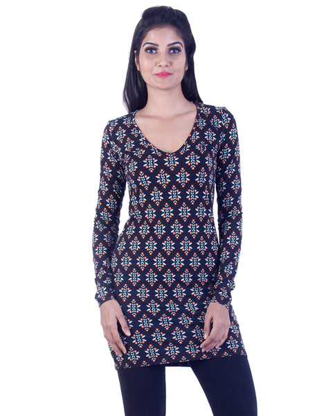 Dark brown patterened design Long tunic