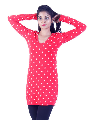 Red Long white dotted Tunic