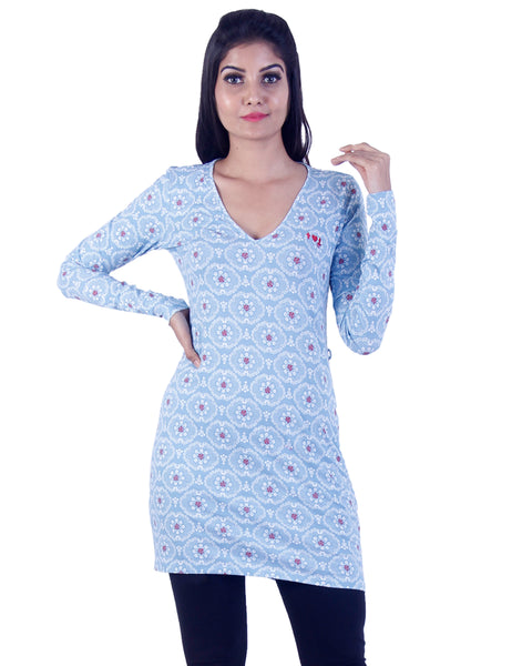 Light blue red dotted Long tunic