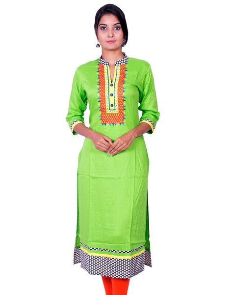 Lime Green Pure Rayon Embroidered Long Sleeve Kurti from Joshuahs