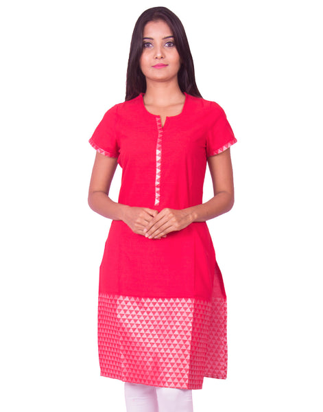Red With Silver Thread Jaquard South Cotton Dobby Kurti from Joshuahs