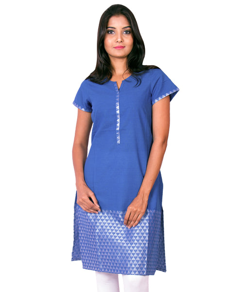 Prussian Blue with Silver Thread Jaquard South Cotton Dobby  Kurti from Joshuahs
